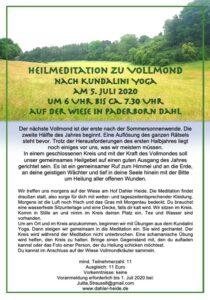 """""""Heilmeditation zum Vollmond (Kundalini)"""" mit Julita (So., 5.7.2020, 6-7:00) @ Dahler Heide"""