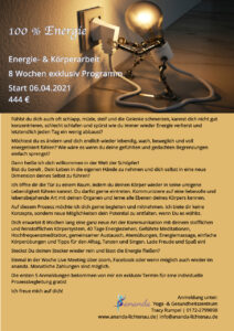 """100% Energie"" mit Tracy (Dienstags, 8 x ab 6.4.2021 nach Vereinbarung) @ felxibel ZOMM, Facebook..."