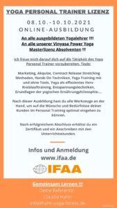 """Yoga Personal Trainer Lizenz"" mit Claudia (08.10.-10.10.2021)"