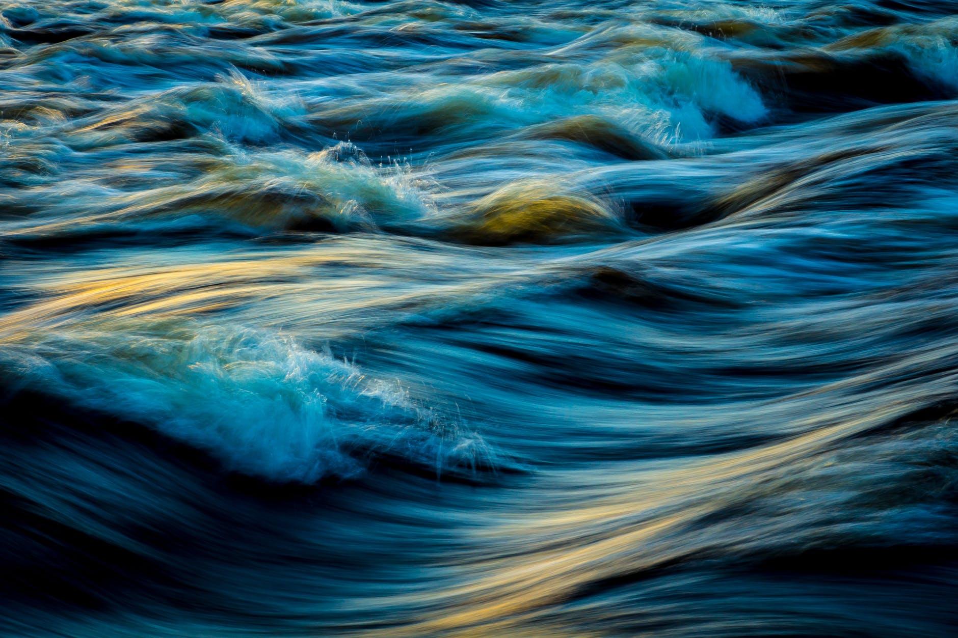 macro photography of water waves